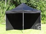 Vouwtent/Easy up tent FleXtents Steel 3x3m Zwart, inkl. 4 zijwanden - 12