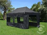 Vouwtent/Easy up tent FleXtents Basic v.2, 3x6m Zwart, inkl. 6 Zijwanden - 1