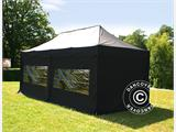 Pop up gazebo FleXtents PRO 3x6 m Black, Flame retardant, incl. 6 sidewalls - 1