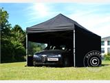 Vouwtent/Easy up tent FleXtents PRO 3x6m Zwart, Vlamvertragende, inkl. 6 Zijwanden - 3