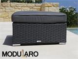 Poly rattan footstool for Modularo, Square, Grey - 1