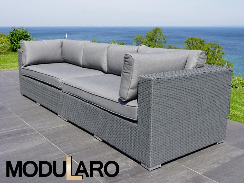 canap en poly rotin 2 modules modularo gris dancovershop fr. Black Bedroom Furniture Sets. Home Design Ideas