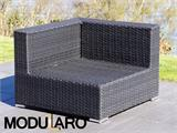 Salon de jardin en poly rotin I, 4 modules, Modularo, noir - 24