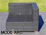 Salon de jardin en poly rotin I, 4 modules, Modularo, noir - 25