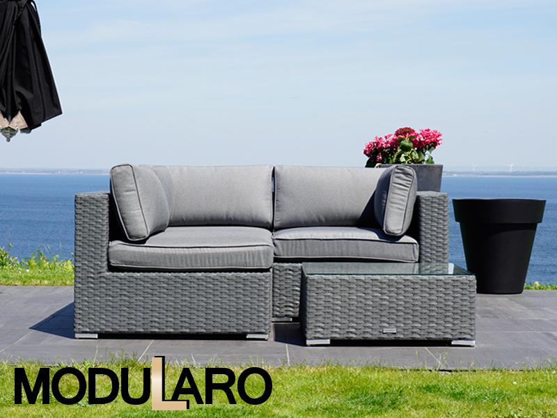 Polyrattan Lounge Set I, 4 Module, Modularo, Grau