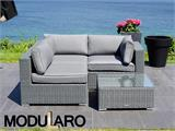 Poly rattan Lounge Set I, 4 modules, Modularo, Grey - 4