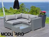 Poly rattan Lounge Set I, 4 modules, Modularo, Grey - 5
