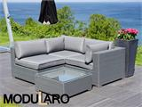 Poly rattan Lounge Set I, 4 modules, Modularo, Grey - 8