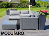Poly rattan Lounge Set I, 4 modules, Modularo, Grey - 10