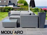 Poly rattan Lounge Set I, 4 modules, Modularo, Grey - 11