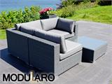 Poly rattan Lounge Set I, 4 modules, Modularo, Grey - 12