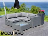 Poly rattan Lounge Set I, 4 modules, Modularo, Grey - 13