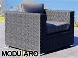 Poly rattan Lounge Set II, 7 modules, Modularo, Black - 36