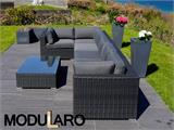 Salon de jardin en poly rotin III, 7 modules, Modularo, noir - 9