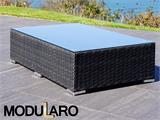 Salon de jardin en poly rotin III, 6 modules, Modularo, noir - 28