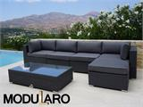 Salon de jardin en poly rotin III, 6 modules, Modularo, gris - 1