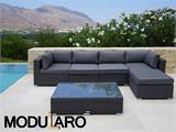Salon de jardin en poly rotin III, 6 modules, Modularo, gris - 3