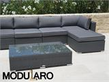 Salon de jardin en poly rotin III, 6 modules, Modularo, gris - 4