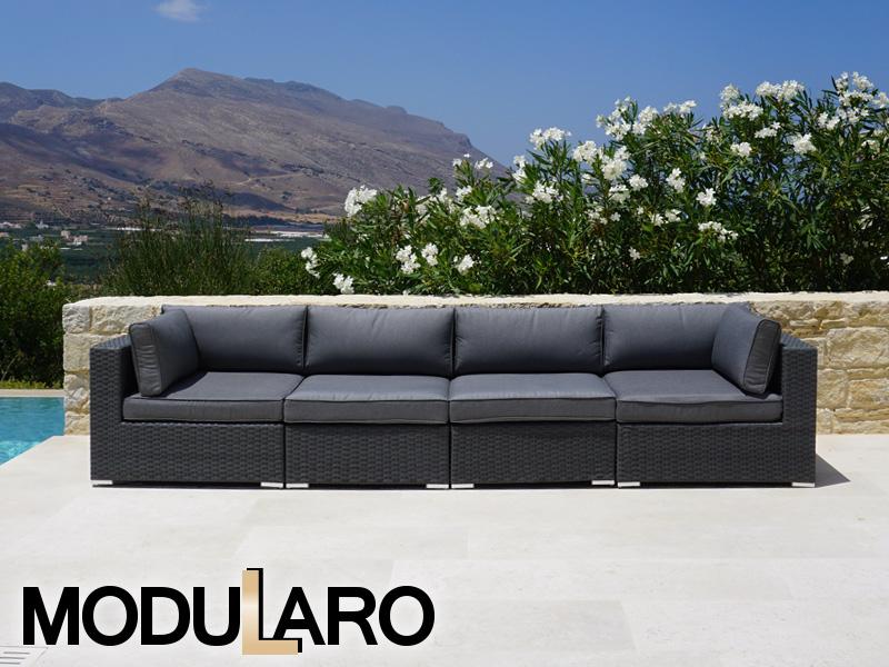 Polyrattan Lounge Sofa, 4 Module, Modularo, Grau
