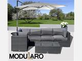 Poly rattan Lounge Set IV, 6 modules, Modularo, Black - 2
