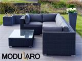 Poly rattan Lounge Set IV, 6 modules, Modularo, Black - 6