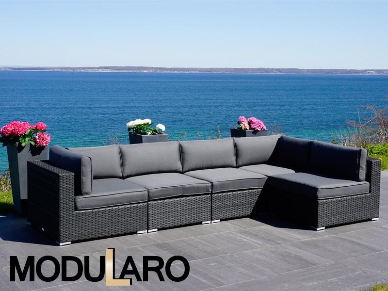Polyrattan Lounge Sofa I, 5 Module, Modularo, Schwarz