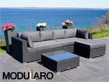 Poly rattan Lounge Set III, 4 modules, Modularo, Black - 4