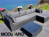 Poly rattan Lounge Set III, 4 modules, Modularo, Black - 5