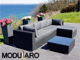 Poly rattan Lounge Set III, 4 modules, Modularo, Black - 8