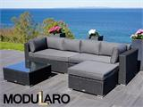 Poly rattan Lounge Set III, 4 modules, Modularo, Black - 9