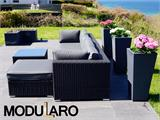 Poly rattan Lounge Set III, 4 modules, Modularo, Black - 14