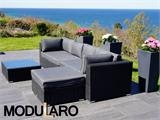 Poly rattan Lounge Set III, 4 modules, Modularo, Black - 16
