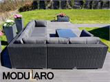 Salon de jardin en poly rotin V, 4 modules, Modularo, noir - 6