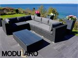 Salon de jardin en poly rotin V, 4 modules, Modularo, noir - 9