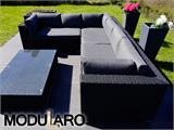 Salon de jardin en poly rotin V, 4 modules, Modularo, noir - 11