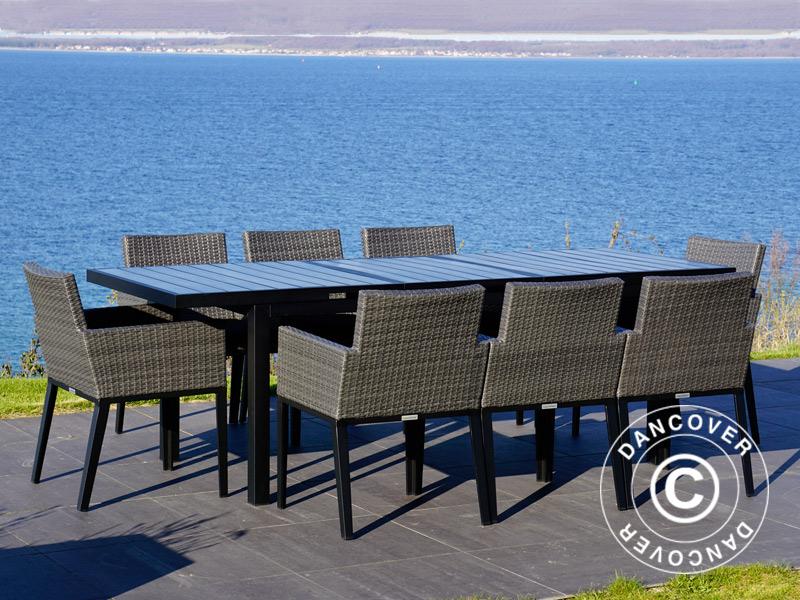 Tuinset miami 1 tafel 6 stoelen zwart grijs dancovershop nl