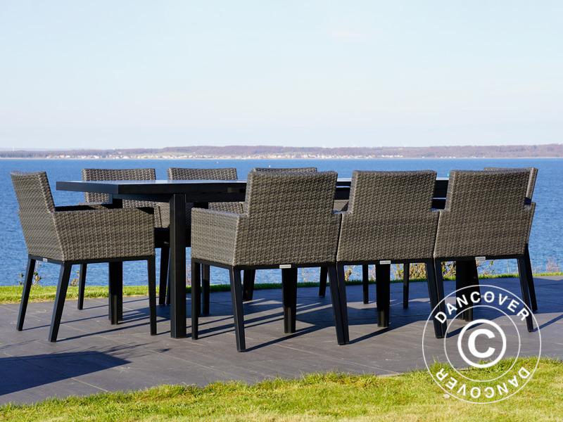 Salon de jardin Miami, 1 table + 8 chaises, noir/gris - Dancovershop FR