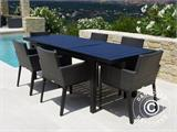 Garden furniture set, Miami, 1 table + 6 chairs, Black/Grey - 2