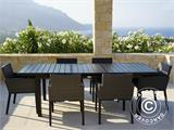 Garden furniture set, Miami, 1 table + 6 chairs, Black/Grey - 3