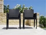 Garden furniture set, Miami, 1 table + 6 chairs, Black/Grey - 4