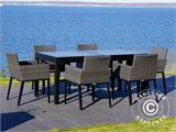 Garden furniture set, Miami, 1 table + 6 chairs, Black/Grey - 6