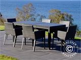 Garden furniture set, Miami, 1 table + 6 chairs, Black/Grey - 8