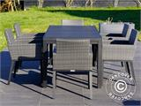 Garden furniture set, Miami, 1 table + 6 chairs, Black/Grey - 14