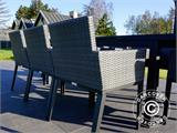 Garden furniture set, Miami, 1 table + 6 chairs, Black/Grey - 16