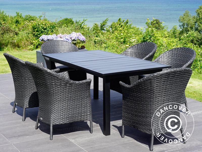 Salon de jardin: Table de jardin + 6 chaises de jardin, Noir ...