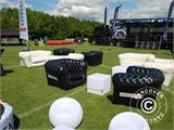 Oppustelig sofa, Chesterfield-look, 2-pers., Sort - 1