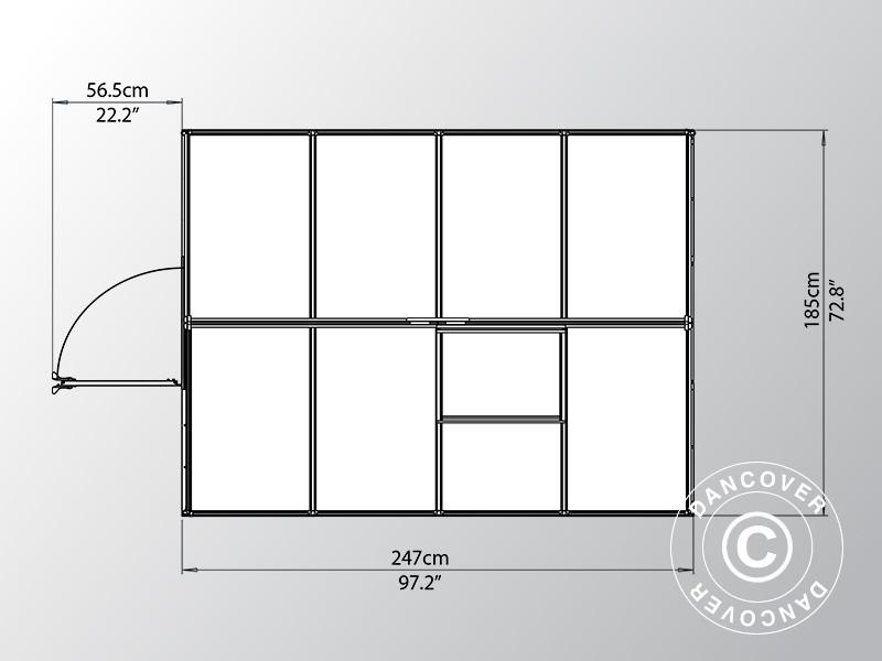 Serre en polycarbonate 4,6m², 1,85x2,47x2,08m, Argent