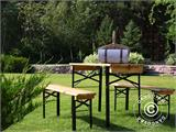 Beer Table Set 220x60x76 cm, w/backrest, Black - 1