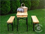 Beer Table Set 220x60x76 cm, w/backrest, Black - 2
