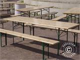 Beer Table Set 220x60x76 cm, w/backrest, Black - 3